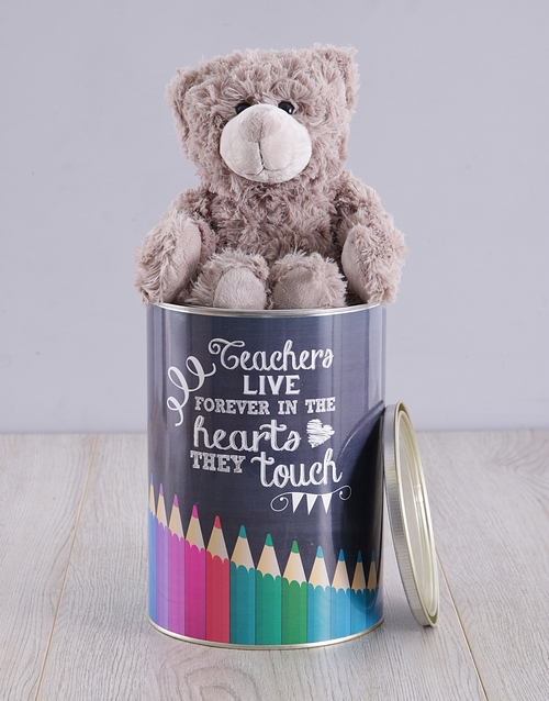 personalised: Personalised Teachers Live Forever Teddy Tin!