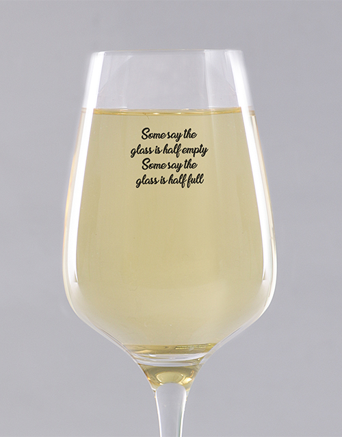 personalised: Personalised Glass Half Full Wine Glass!