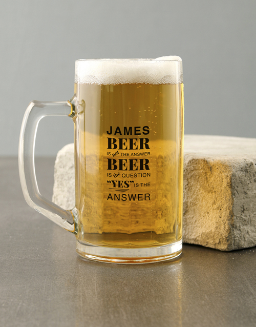 fathers-day: Personalised Question Beer Mug!