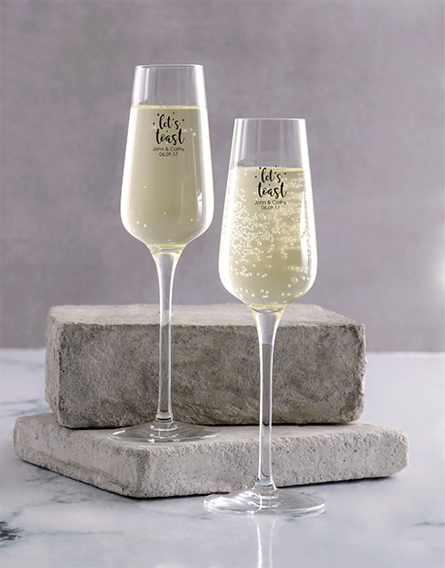 homeware: Personalised Lets Toast Champagne Glass Set!