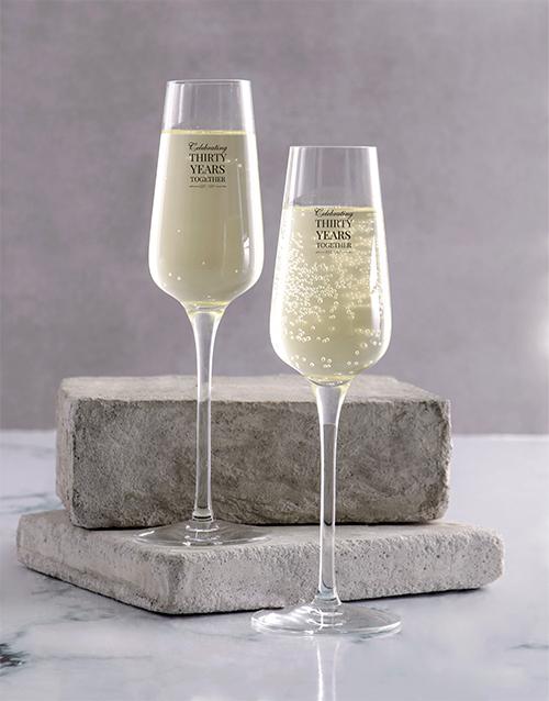homeware: Personalised Anniversary Champagne Glass Set!