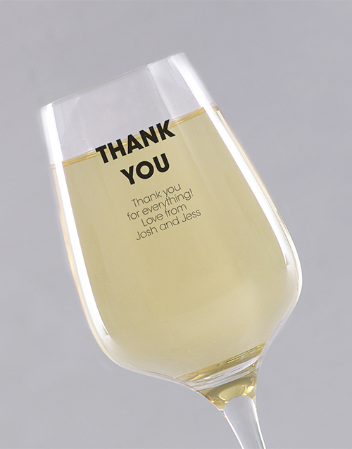 personalised: Personalised Thank You Wine Glass!