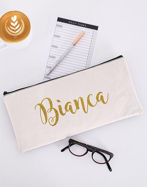 personalised: Personalised Glitter Cursive Pencil Bag!