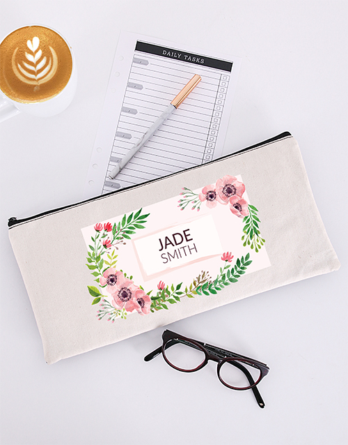 year-end: Personalised Floral Pencil Bag!