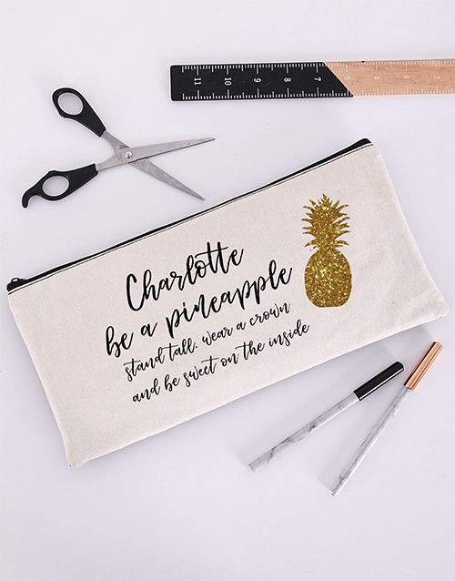 year-end: Personalised Pineapple Pencil Bag!