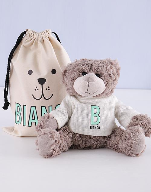 teddy-bears: Personalised Initial Teddy in Drawstring Bag!