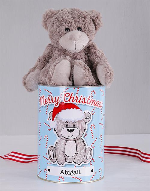 christmas: Personalised Christmas Cane Teddy Tin!