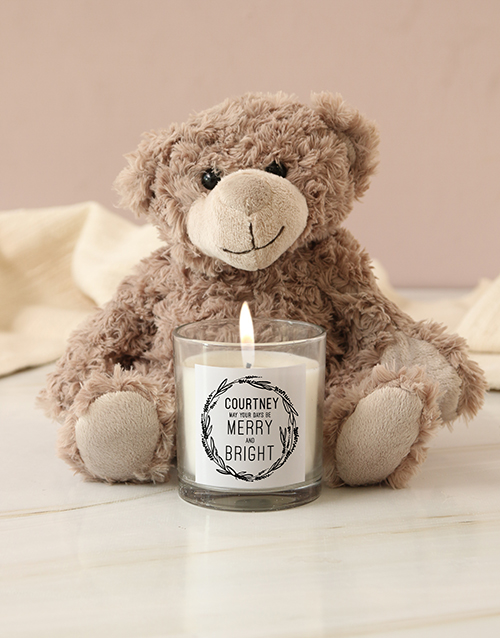 personalised: Personalised Merry And Bright Candle!