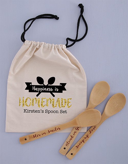 personalised: Personalised Spoon Set in Drawstring Bag!