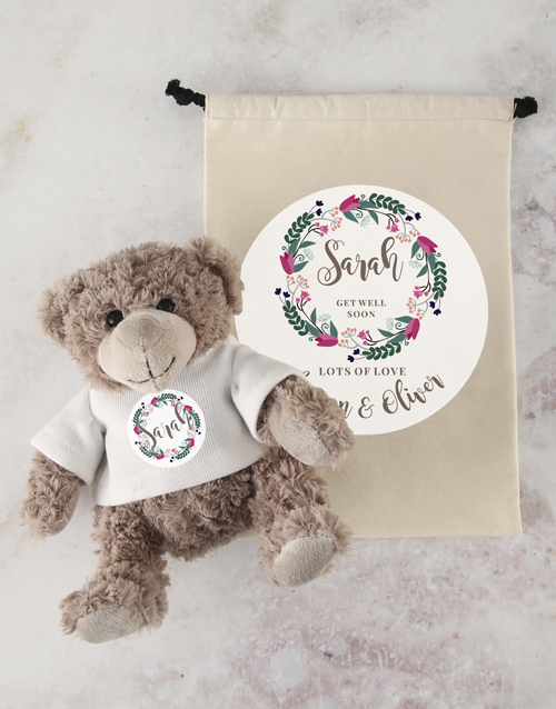 teddy-bears: Personalised Get Well Teddy and Drawstring Bag!