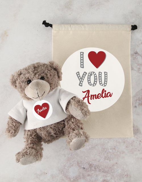 teddy-bears: Personalised Mummy Love Teddy and Drawstring Bag!