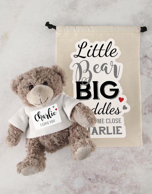 friendship: Personalised Big Cuddles Teddy and Drawstring Bag!