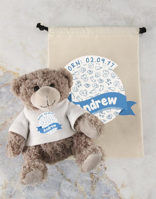 teddy-bears: Personalised Birthday Fun Teddy and Drawstring Bag!