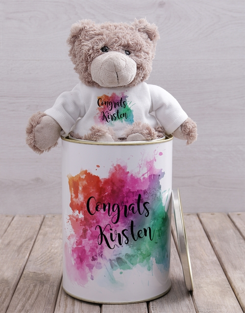 teddy-bears: Personalised Congrats Teddy Tin!