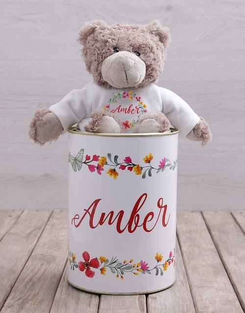teddy-bears: Personalised Floral Teddy Tin!