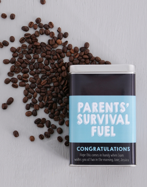 winter: Personalised Parents Survival Coffee Tin!