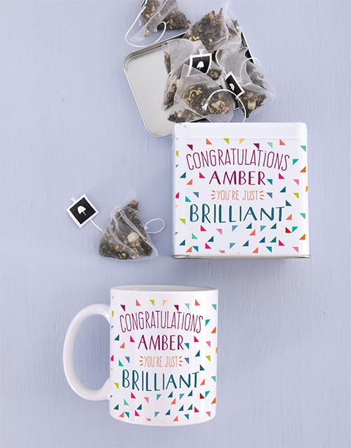 personalised: Personalised Congrats Mug and Tea Tin!