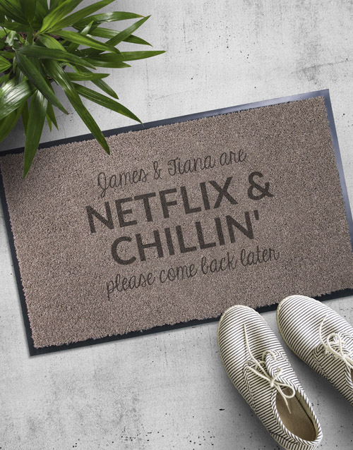 home-decor: Personalised Netflix and Chilling Doormat!