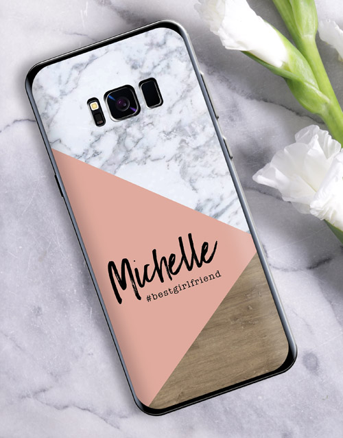 womens-day: Personalised Blush Marble Samsung Cover!