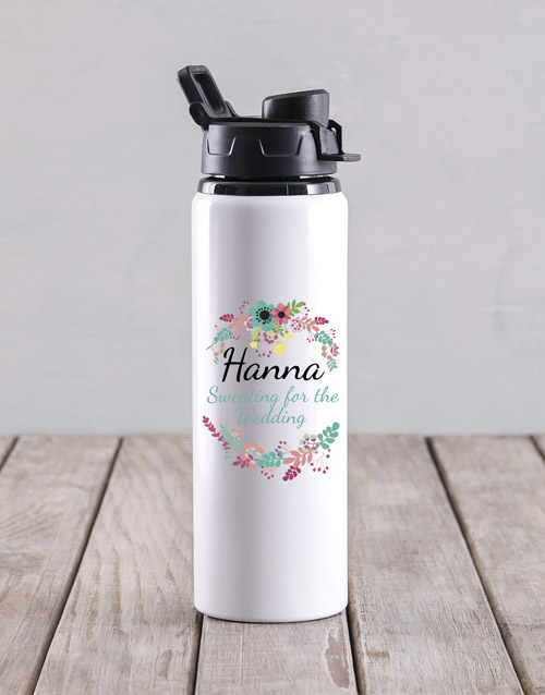 personalised: Personalised Sweating For The Wedding Water Bottle!
