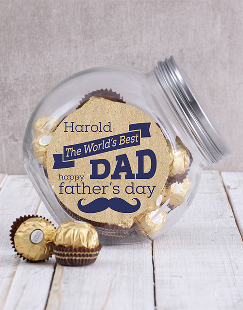 fathers-day: Personalised Worlds Best Dad Candy Jar!