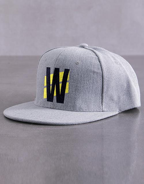 activewear: Personalised Chevron Initial Grey Flat Peak Cap!