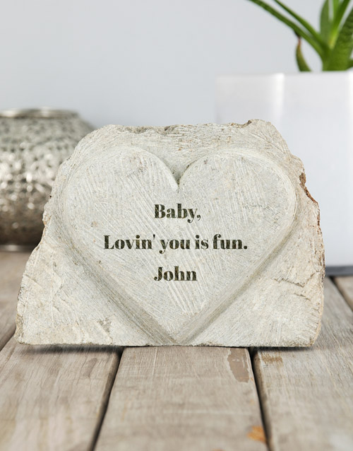 personalised: Personalised Lovin You Stone Heart!