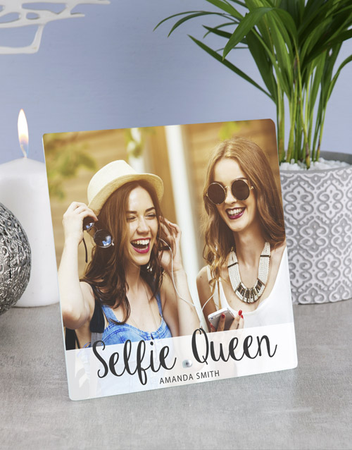 personalised: Personalised Selfie Queens Glass Tile!