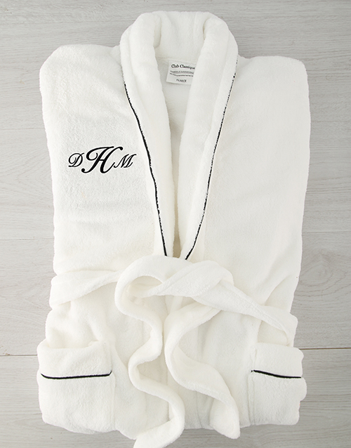bath-and-body: Personalised Cursive Monogram Fleece Gown!