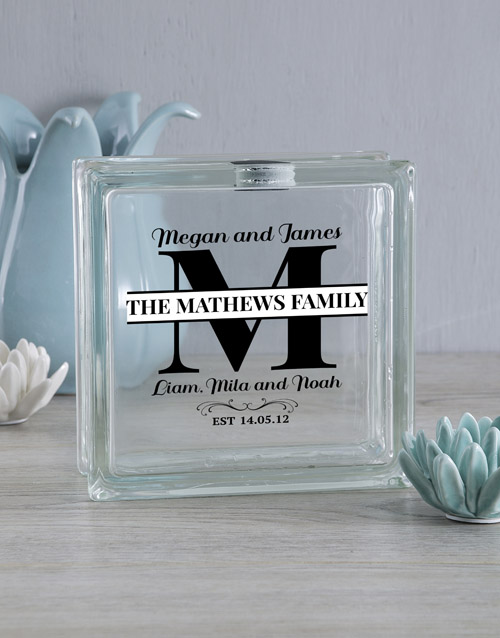 home-decor: Personalised Family Glass Brick!
