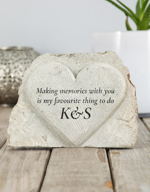 home-decor: Personalised Making Memories Stone Heart!