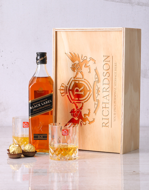 personalised: Personalised Crest Whisky and Crystal Crate!