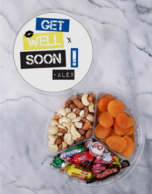 mothers-day: Personalised Get Well Fruit & Nut Tub!