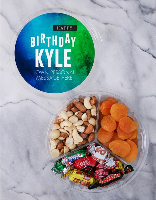 birthday: Personalised Gradient Fruit & Nut Tub!