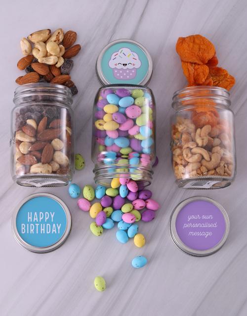 birthday: Personalised Cupcake Fruit and Nut Jar Trio!