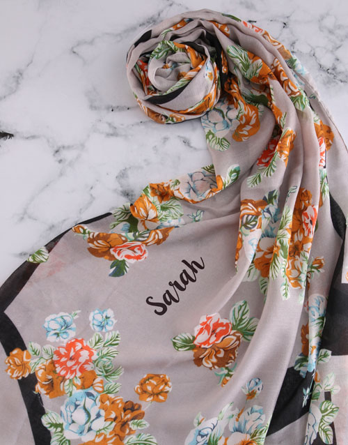 bath-and-body: Personalised Grey Floral Scarf Gift!