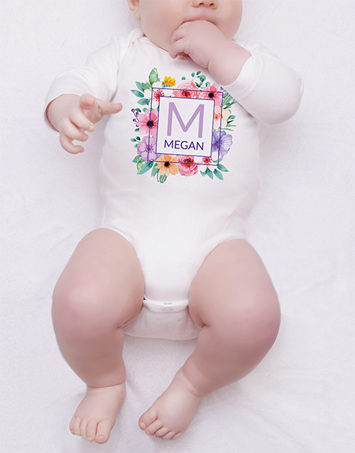 baby: Personalised Floral Wreath Onesie!