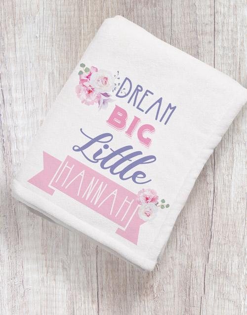 apparel: Personalised Dream Big Baby Fleece Blanket!