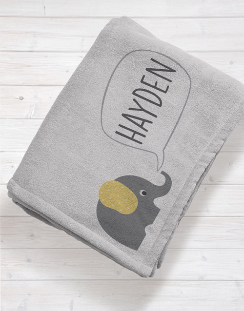 baby: Personalised Elephant Baby Fleece Blanket!