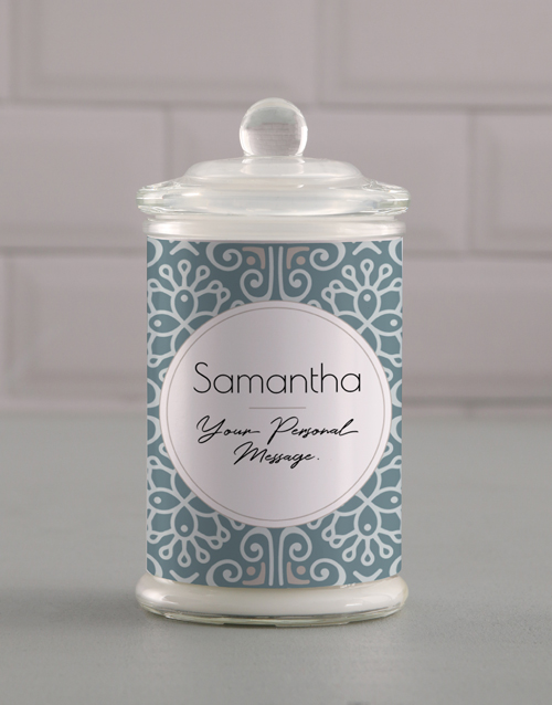 grandparents-day: Personalised Blue Pattern Candle Jar!