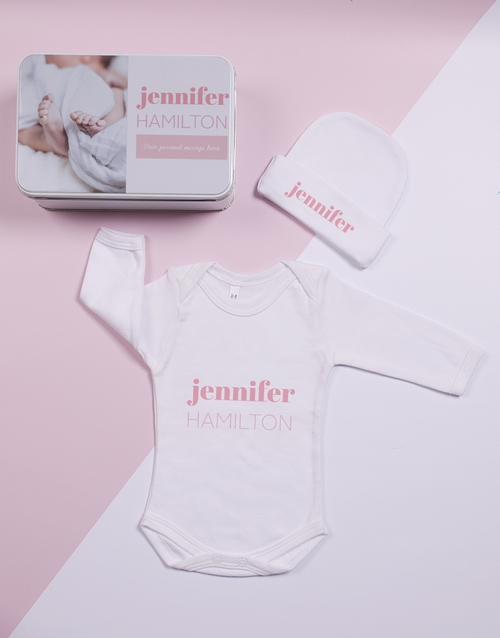 baby: Personalised Keepsake Photo Girl Tin Gift Set!