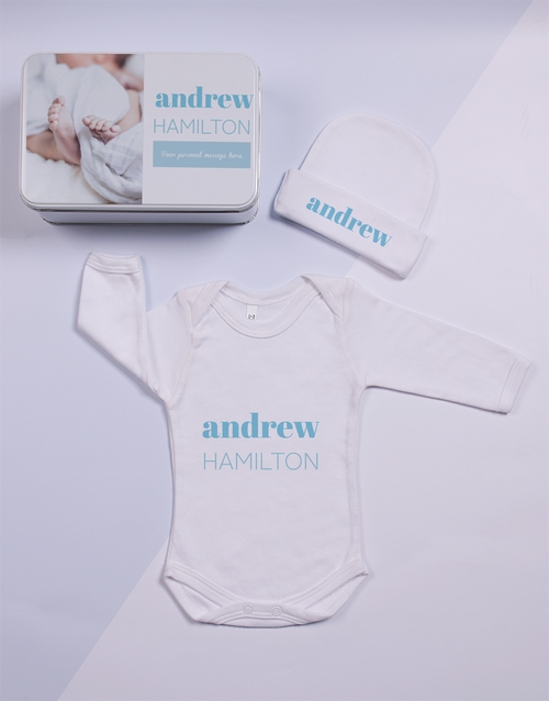 baby: Personalised Keepsake Photo Boy Tin Gift Set!