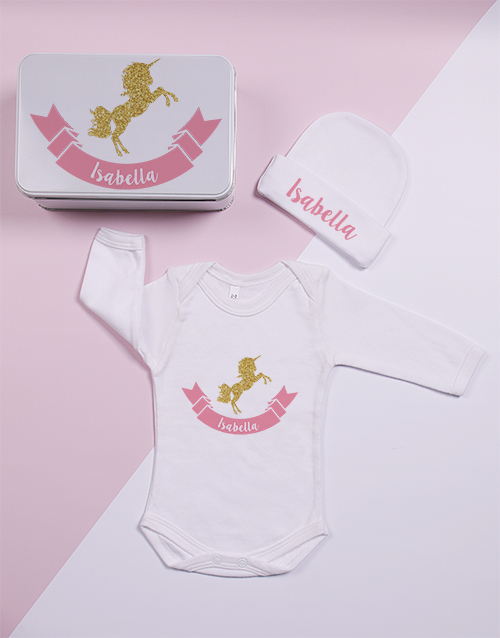 baby: Personalised Keepsake Unicorn Tin Gift Set!