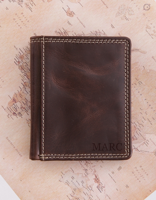 fathers-day: Personalised Brown Leather Wallet!