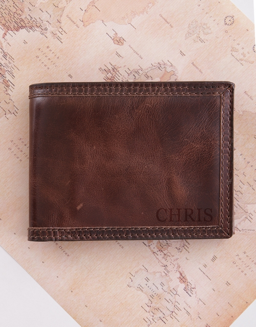 fathers-day: Personalised Brown Leather Billfold!