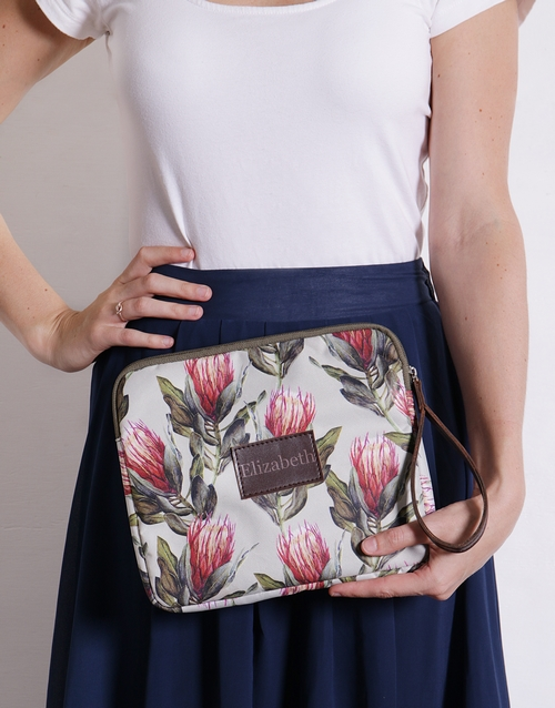 personalised: Personalised Protea Tablet Zip Up Pouch!