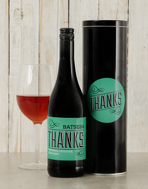 thank-you: Personalised Thanks Wine Tin!