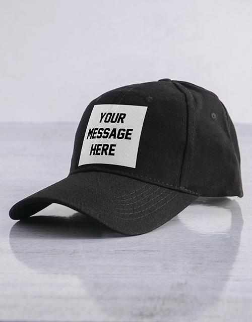 activewear: Personalised Black Messaging Peak Cap!