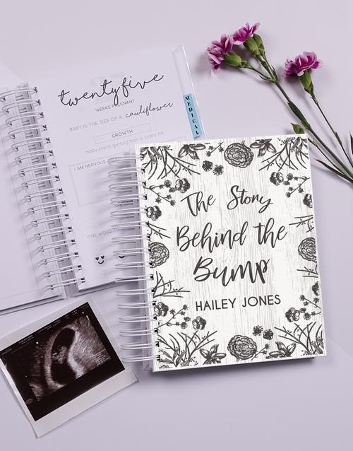 christmas: Personalised Floral Sketch Pregnancy Journal!
