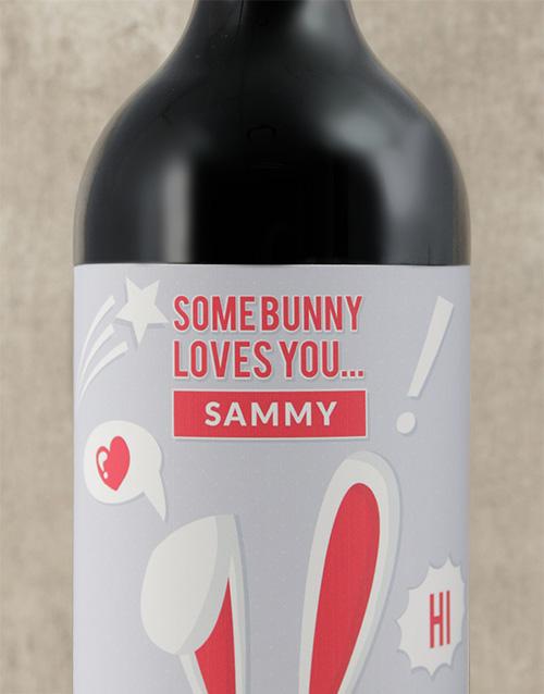 easter: Personalised Somebunny Loves You Wine!